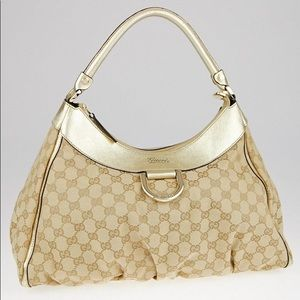 GUCCI Gold D Ring Beige Canvas Hobo Bag